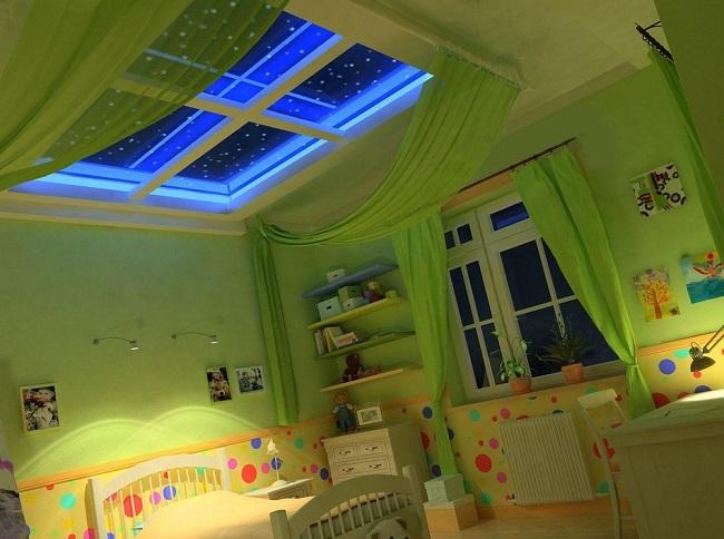 имитация окна со звездным небом в детской