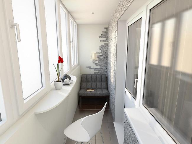 дизайн балкона с декоративным камнем