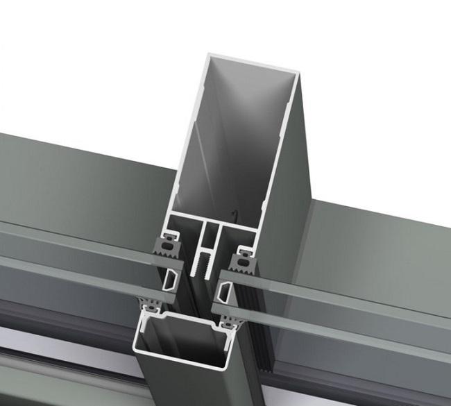 холодное алюминиевое фасадное остекление в разрезе