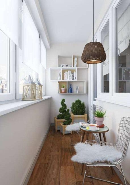 дизайн балкона в минималистичном скандинавском стиле