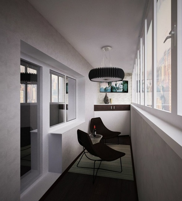 балкон в стиле хай тек