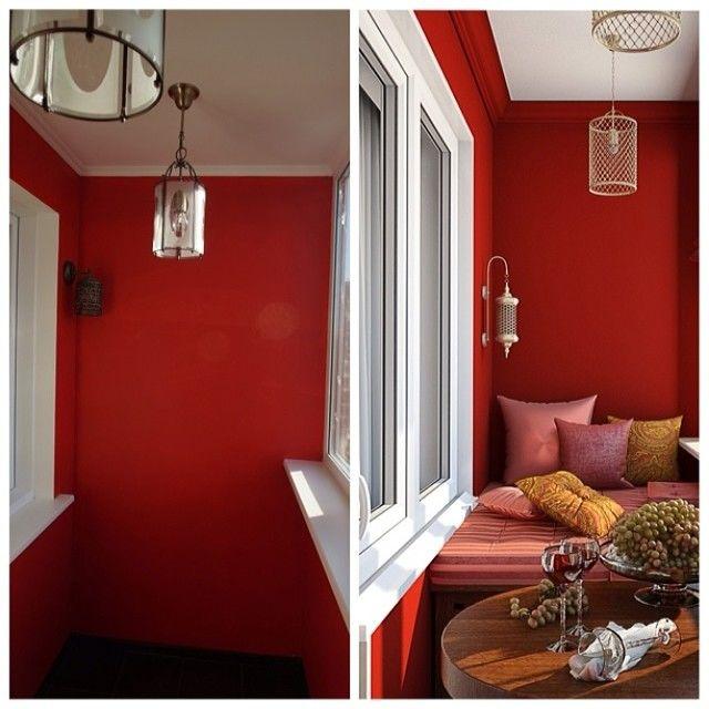 балкон в темно красном цвете