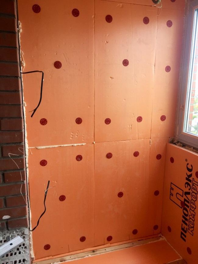 утепление стен балкона пенополистиролом