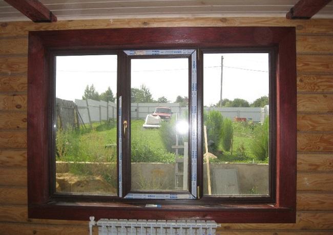 Откосы из крашенной лиственницы на окно