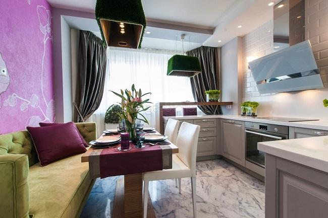 Дизайн кухни с балконом 14 м2