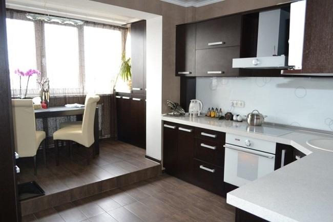 дизайн кухни объединенной с балконом 10 кв м