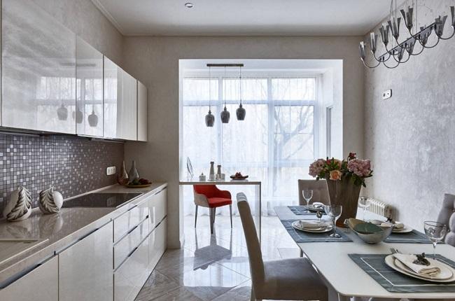 красивый дизайн кухни с балконом