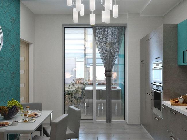 панорамные двери с кухни на балкон