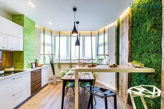 экостиль кухни с балконом