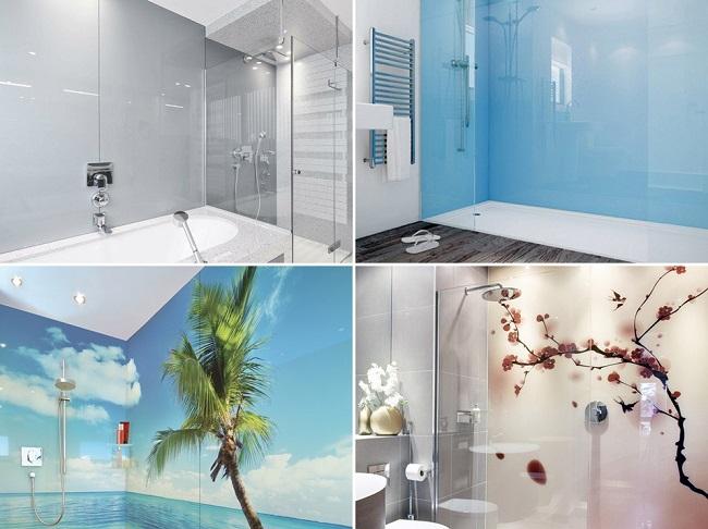 Стеклянные панели для стен в ванной