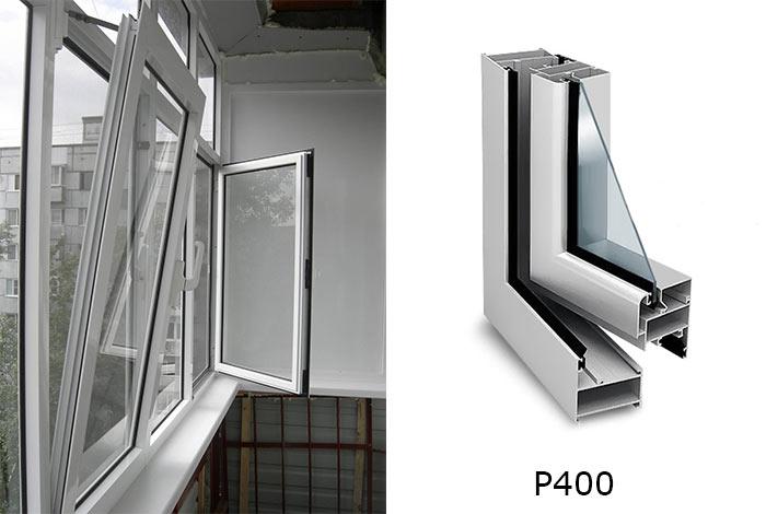 холодное алюминиевое остекление Provedal P400 для балкона