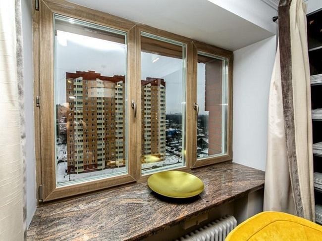 сочетание подоконника с окном