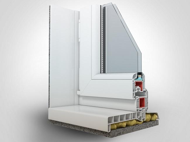 пвх окно с подставочным профилем в разрезе