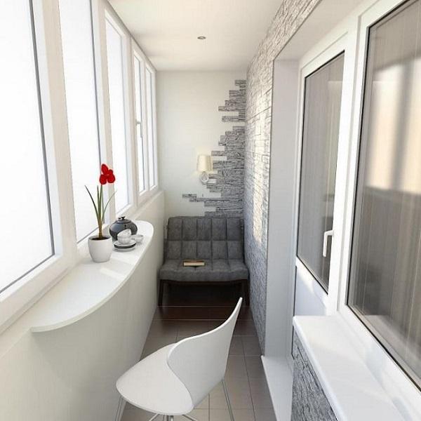 комбинирование материалов в отделке балкона