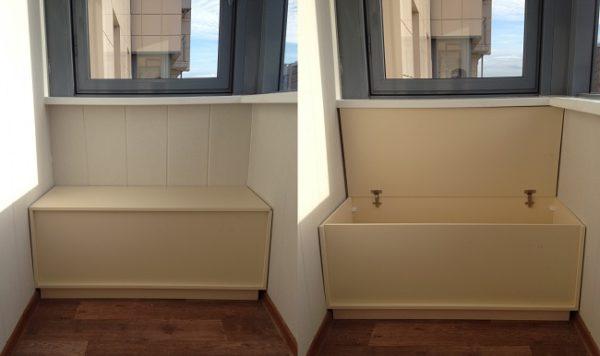 тумба с ящиком на хрущевском балконе