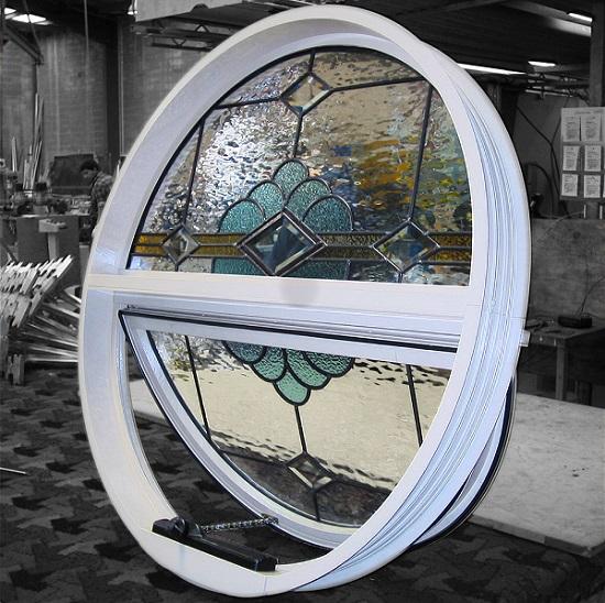 круглые витражные алюминиевые окна