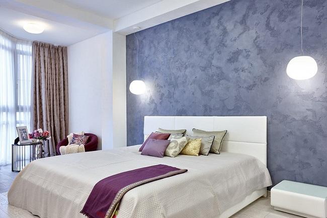 фактурная штукатурка синяя для спальни