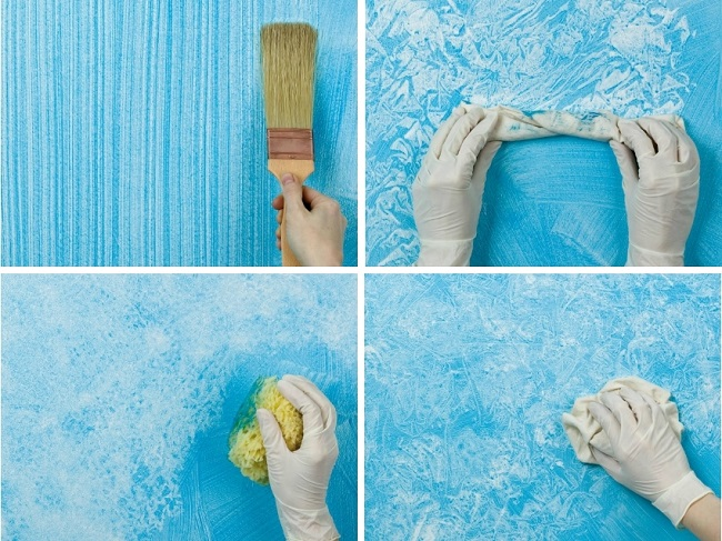 создание рельефа фактурной краски