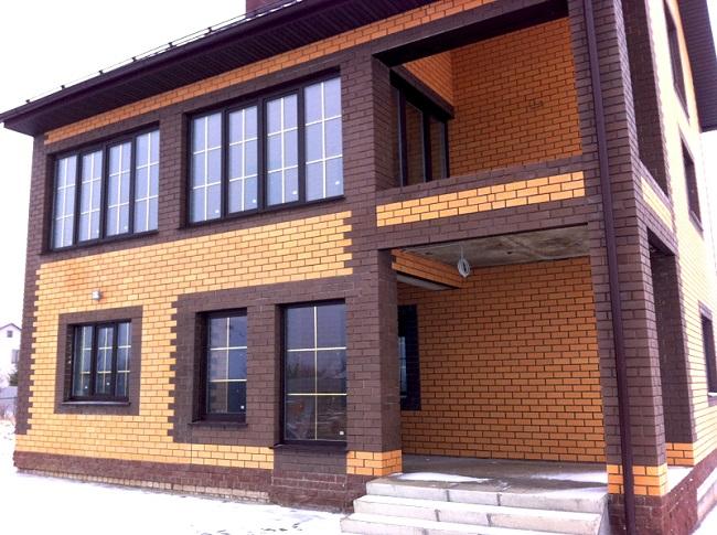 коттеджи кирпичные окна с раскладкой