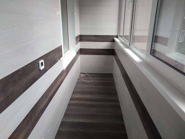 отделка стен балкона ламинатом