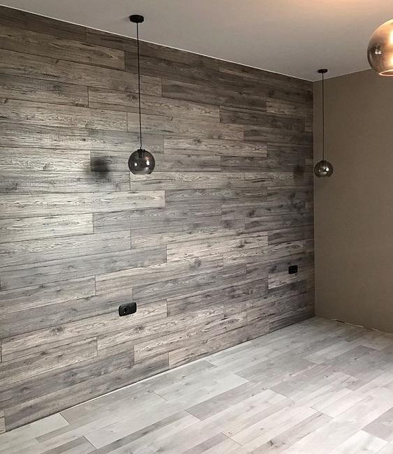ламинат на отдельной стене в интерьере