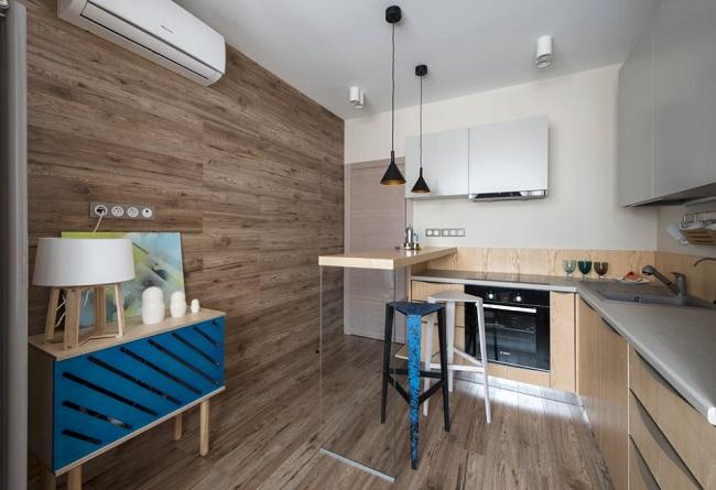 ламината на стене в интерьере кухни