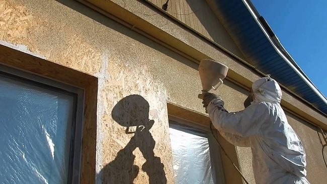 напыляема пробка нанокорк на фасад здания