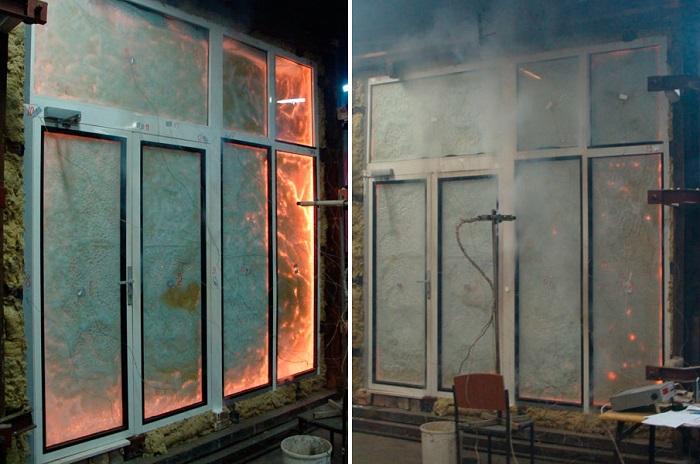 противопожарные окна в огне