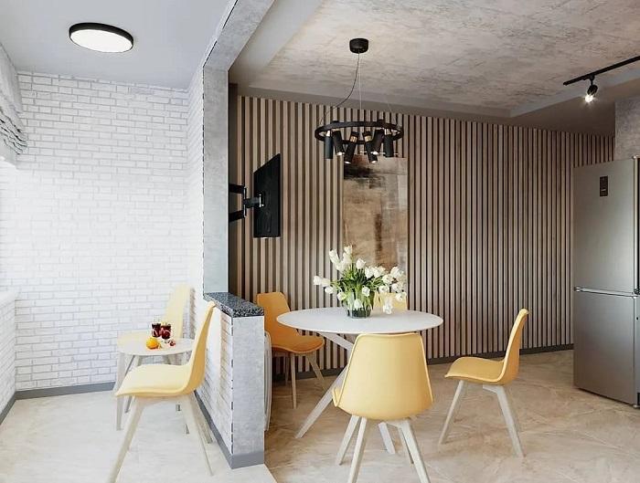 рейки на стене в дизайне лофт
