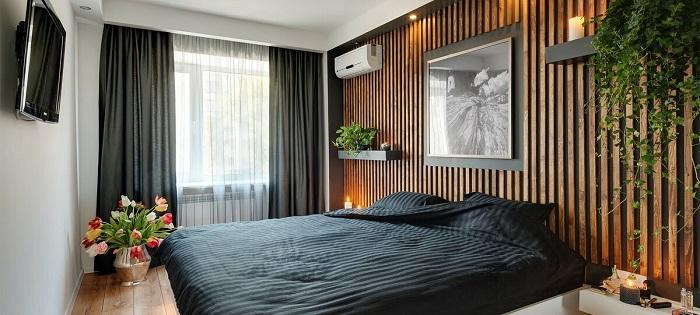 рейки в интерьере спальни