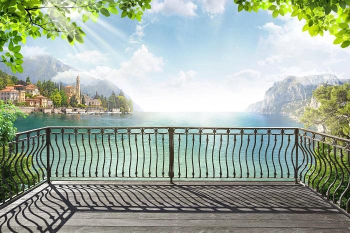 обои с видом с балкона на море