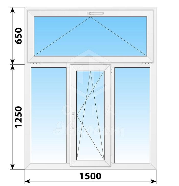 трехстворчатые окна с фрамугой