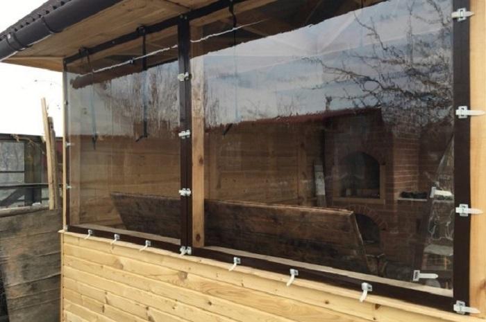 мягкие окна с окантовкой для балкона